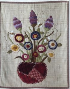 Wool Applique Floral Wall Hanging