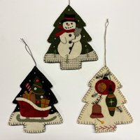 3 Vintage Wool Applique Tree Ornaments