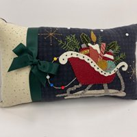 Santa's Sleigh Pillow Wool Applique Kit